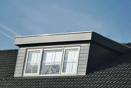 dakkapel met een plat dak